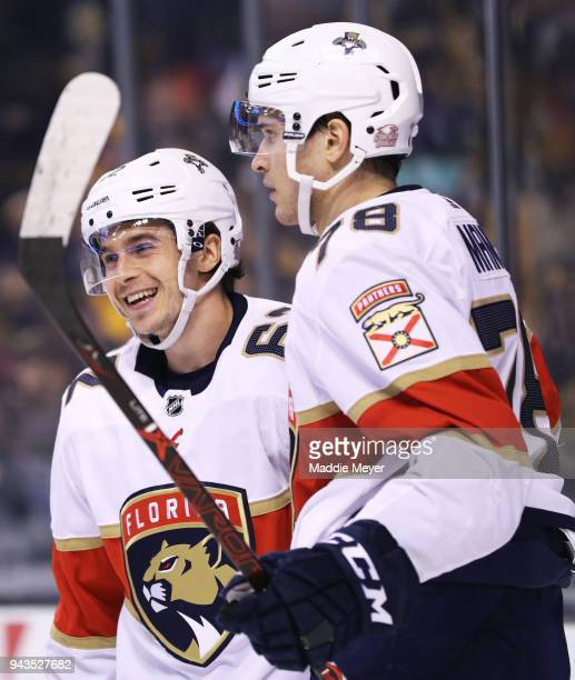 Maxim Mamin of the Florida Panthers celebrates with Denis Malgin after scoring a goal against the Boston Bruins during the second period at TD Garden...