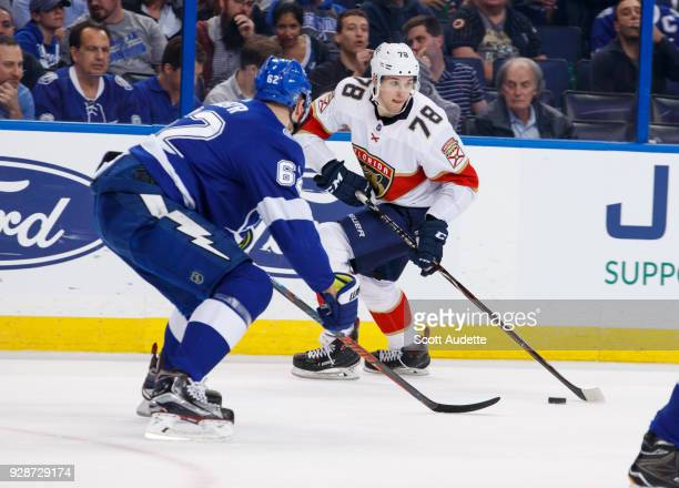 Maxim Mamin of the Florida Panthers skates against the Tampa Bay Lightning at Amalie Arena on March 6 2018 in Tampa Florida 'n