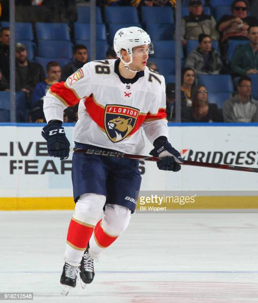Maxim Mamin of the Florida Panthers skates during an NHL game against the Buffalo Sabres on February 1 2018 at KeyBank Center in Buffalo New York