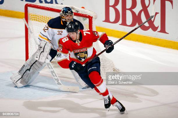 Maxim Mamin of the Florida Panthers skates for position against the Buffalo Sabres at the BBT Center on April 7 2018 in Sunrise Florida Maxim Mamin
