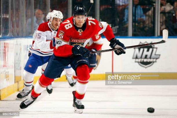 Maxim Mamin of the Florida Panthers skates for the puck against the Montreal Canadiens at the BBT Center on March 8 2018 in Sunrise Florida