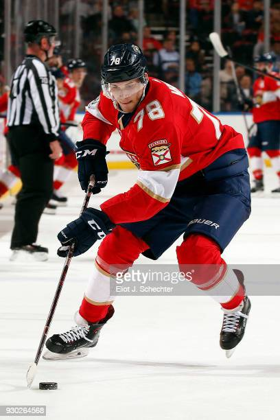 Maxim Mamin of the Florida Panthers skates with the puck against the Montreal Canadiens at the BBT Center on March 8 2018 in Sunrise Florida