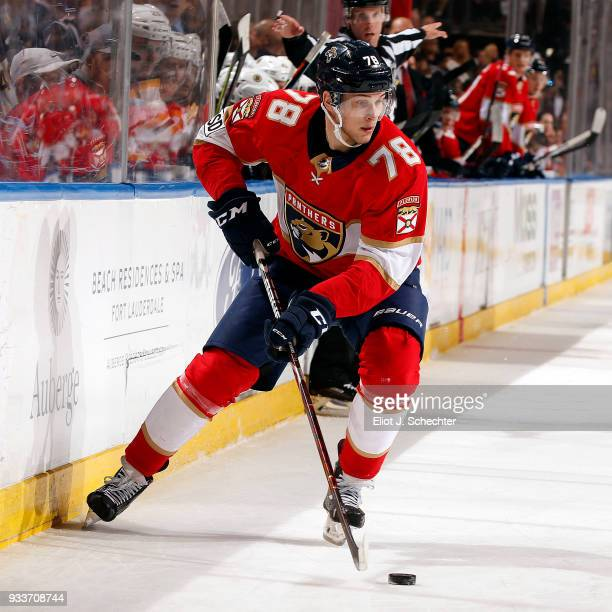 Maxim Mamin of the Florida Panthers skates with the puck against the Boston Bruins at the BBT Center on March 15 2018 in Sunrise Florida Maxim Mamin