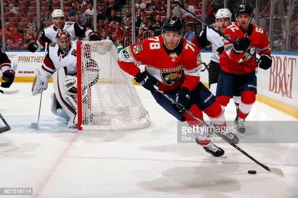Maxim Mamin of the Florida Panthers skates with the puck during first period action against the Arizona Coyotes at the BBT Center on March 24 2018 in...