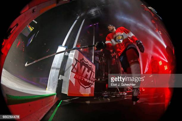 Maxim Mamin of the Florida Panthers takes the ice for introductions prior to the start of the game against the Montreal Canadiens at the BBT Center...