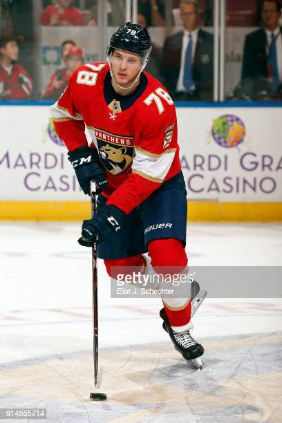 Maxim Mamin of the Florida Panthers warms up on the ice prior to the start of the game against the Detroit Red Wings at the BBT Center on February 3...