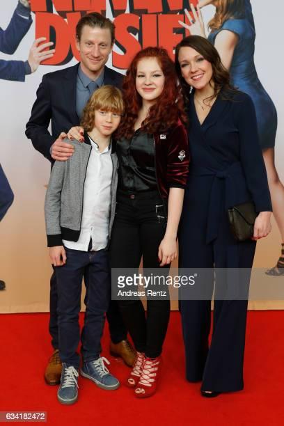 Maxim Mehmet Arsseni Bultmann Arina Prokofyeva and Carolin Kebekus attend 'Schatz Nimm Du sie' German movie premiere at Cineplex Cologne on February...