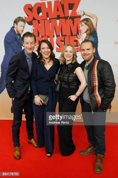 Maxim Mehmet Carolin Kebekus Jasmin Schwiers and Axel Stein attend 'Schatz Nimm Du sie' German movie premiere at Cineplex Cologne on February 7 2017...