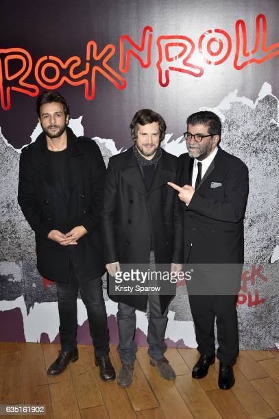 Maxim Nucci Guillaume Canet and Alain Attal attend the Rock'N Roll Premiere at Cinema Pathe Beaugrenelle on February 13 2017 in Paris France