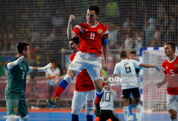 Maxim Okulov of Russia celebrates scoring the second goal against Egypt in the Men's Futsal semifinal match between Egypt and Russia during the...