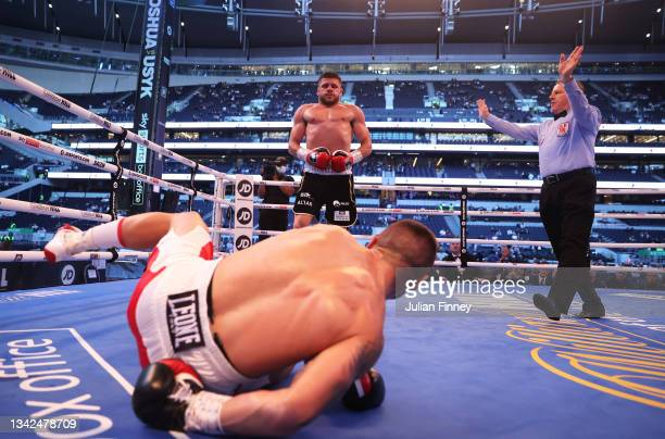 Maxim Prodan is knocked down by Florian Marku during the IBF international welterweight title fight between Maxim Prodan and Florian Marku at...