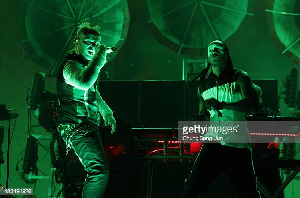 Maxim Reality and Keith Flint of the Prodigy perform onstage during the day three of the Incheon Pentaport Rock Festival on August 9 2015 in Incheon...