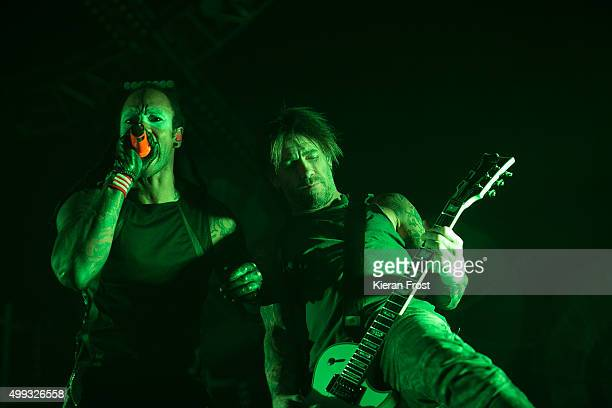 Maxim Reality and Rob Holliday of The Prodigy performs at the 3 Arena on November 30, 2015 in Dublin, Ireland.