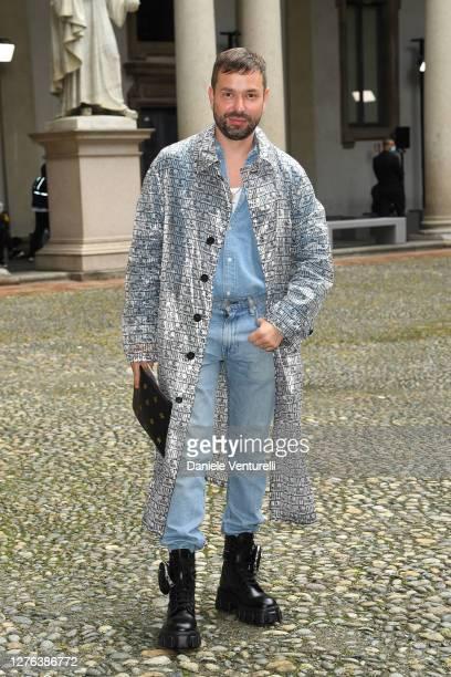 Maxim Sapozhnikov is seen arriving at the Max Mara fashion show during the Milan Women's Fashion Week on September 24 2020 in Milan Italy