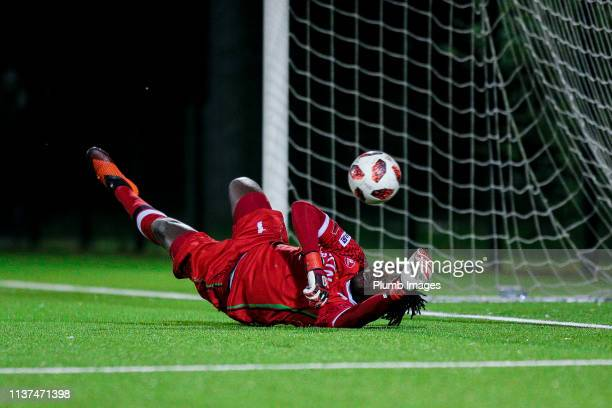 Maxime Amenga Liongo saving a penalty during the Reserve Pro League Cup match between OH Leuven Beloften and RSC Anderlecht Reserve at the Neerpede...