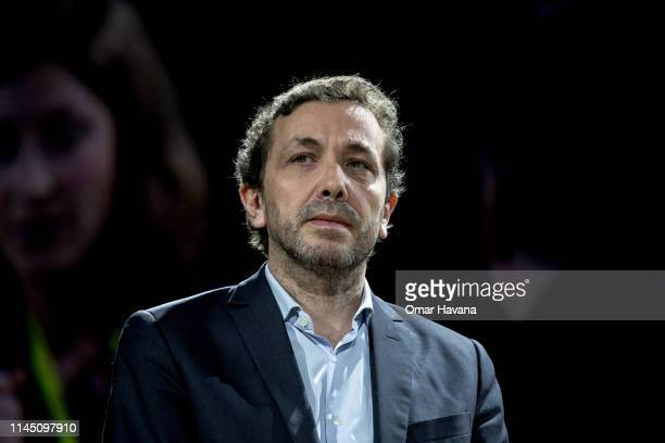 Maxime Baffert Managing Director at Viva Technology Paris listens to speakers during a plenary during the Sustainable Brands Paris conference in the...