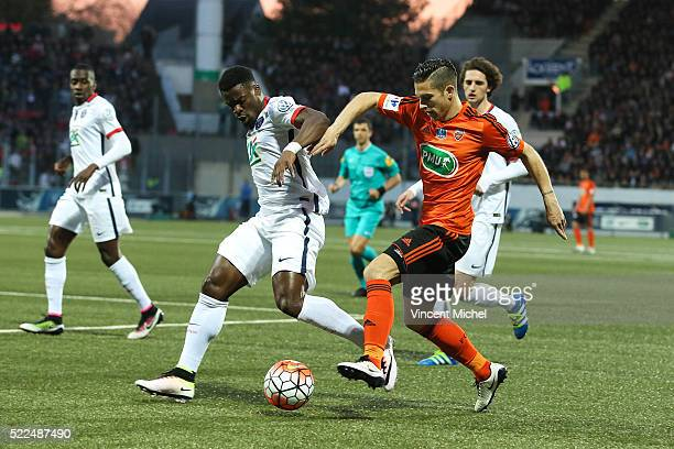 Maxime Barthelme of Lorient and Serge Aurier of Paris Saint Germain during the semi-final French Cup between Lorient and Paris Saint-Germain at Stade...