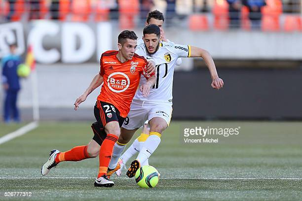Maxime Barthelme of Lorient during the French Ligue 1 match between Fc Lorient and Lille OSC at Stade du Moustoir on April 30, 2016 in Lorient,...