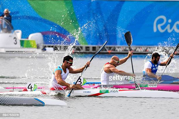 Maxime Beaumont of France during the Men's 200m kayak Single at the the Lagoa Stadium on the fifteenth day of the Rio Olympic Games Brazil