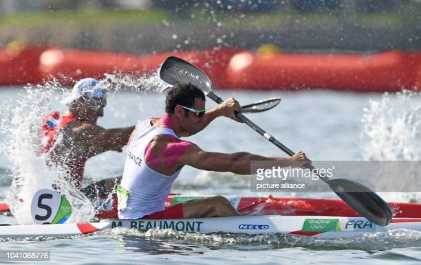 Maxime Beaumont of France in action during the Men's Kayak Single 200m Heats of the Canoe Sprint events of the Rio 2016 Olympic Games at Lagoa...