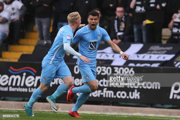 Maxime Biamou of Coventry City celebrates after scoring a goal to make it 10 during the Sky Bet League Two Play Off Semi FinalSecond Leg between...