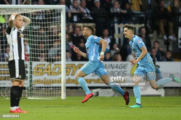 Maxime Biamou of Coventry City celebrates after scoring a goal to make it 31 during the Sky Bet League Two Play Off Semi FinalSecond Leg between...