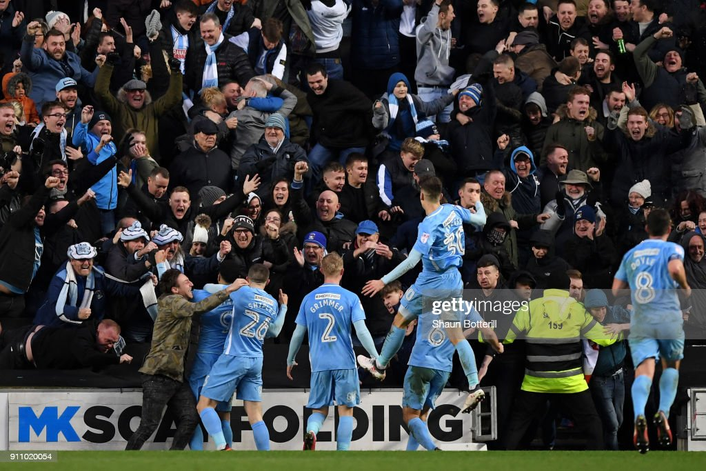 Maxime Biamou of Coventry City celebrates after scoring his sides first goal during The Emirates FA Cup Fourth Round match between Milton Keynes Dons and Coventry City at Stadium mk on January 27, 2018 in Milton Keynes, England.