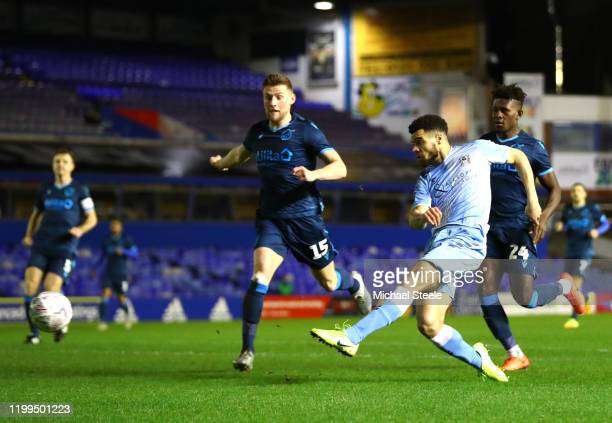 Maxime Biamou of Coventry City scores his team's first goal during the FA Cup Third Round Replay match between Coventry City and Bristol Rovers at St...