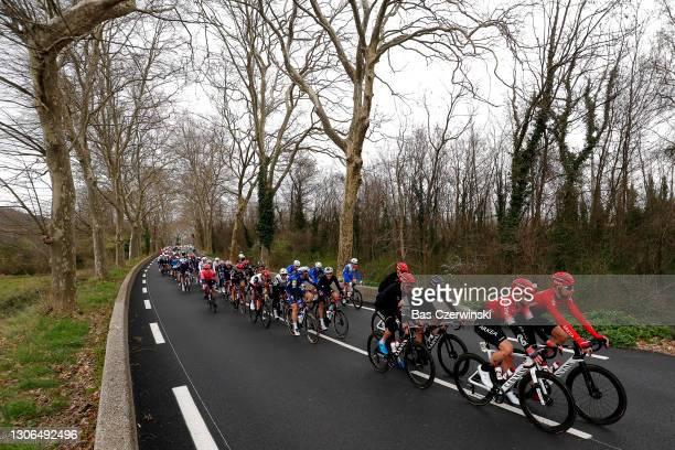 Maxime Bouet of France and Team Arkea - Samsic, Nacer Bouhanni of France and Team Arkea - Samsic & the peloton during the 79th Paris - Nice 2021,...