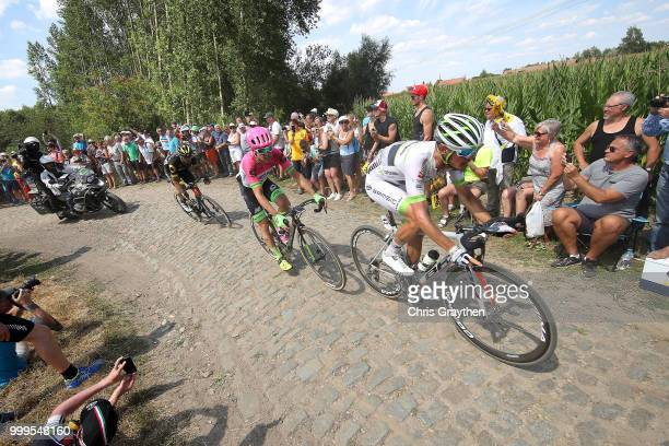 Maxime Bouet of France and Team Fortuneo Samsic / Simon Clarke of Australia and Team EF Education First Drapac P/B Cannondale / ont Thibault a...
