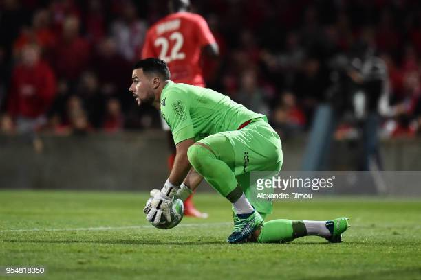 Maxime Cassara of Gazelec during the French Ligue 2 match between Nimes and Gazelec Ajaccio at Stade des Costieres on May 4 2018 in Nimes France