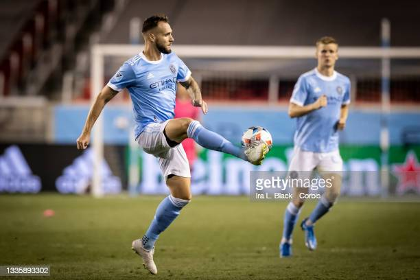Maxime Chanot of New York City clears the ball in the second half of the match against the Inter Miami at Red Bull Arena on August 14, 2021 in...