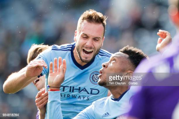 Maxime Chanot of New York City reacts after a head clash with Jonathan Spector of Orlando City during the New York City FC Vs Orlando City SC regular...