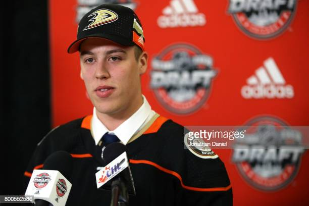 Maxime Comtois is interviewed after being selected 50th overall by the Anaheim Ducks during the 2017 NHL Draft at the United Center on June 24 2017...