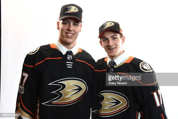 Maxime Comtois left and Antoine Morand pose for a portrait after being drafted by Anaheim Ducks during the 2017 NHL Draft at the United Center on...