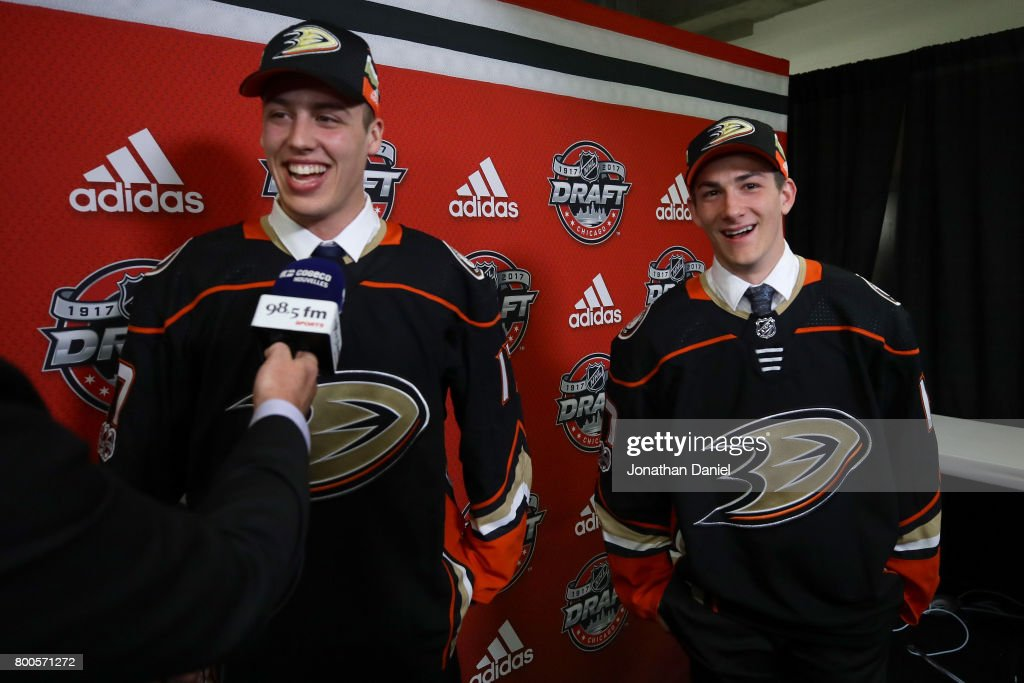 Maxime Comtois, left, is interviewed after being selected 50th overall by the Anaheim Ducks as Antoine Morand looks on during the 2017 NHL Draft at the United Center on June 24, 2017 in Chicago, Illinois.
