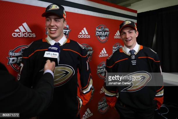 Maxime Comtois left is interviewed after being selected 50th overall by the Anaheim Ducks as Antoine Morand looks on during the 2017 NHL Draft at the...