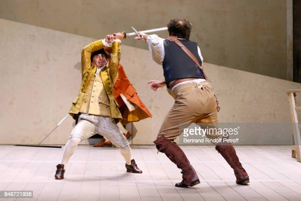 Maxime d'Aboville and Adrien GambaGontard perform in 'Les Jumeaux Venitiens' Press Theater Play at Theatre Hebertot on September 6 2017 in Paris...