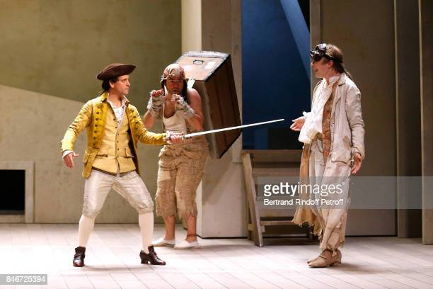 Maxime d'Aboville and Benjamin Jungers perform in 'Les Jumeaux Venitiens' Press Theater Play at Theatre Hebertot on September 6 2017 in Paris France