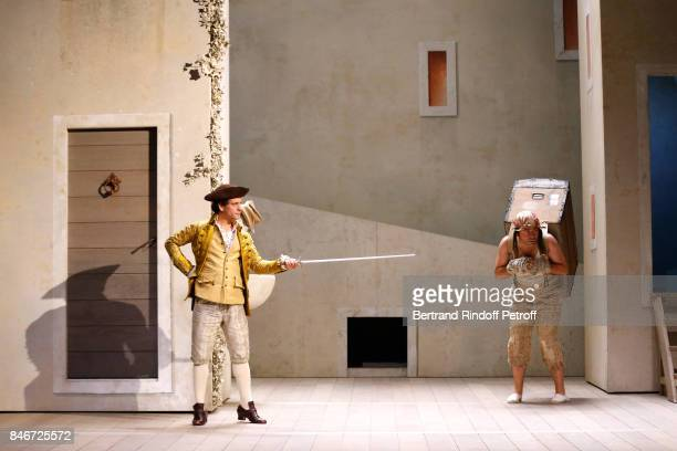 Maxime d'Aboville performs in 'Les Jumeaux Venitiens' Press Theater Play at Theatre Hebertot on September 6 2017 in Paris France