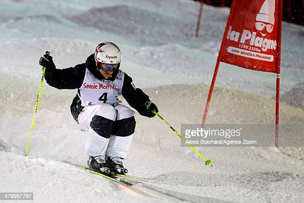Maxime DufourLapointe of Canada takes 3rd place during the FIS Freestyle Ski World Cup Men's and Women's Dual Moguls on March 21 2014 in La Plagne...