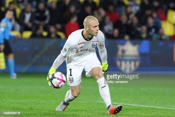 Maxime Dupe Goalkeeper of Nantes during the French Ligue 1 match between FC Nantes and Olympique de Marseille on December 5 2018 in Nantes France