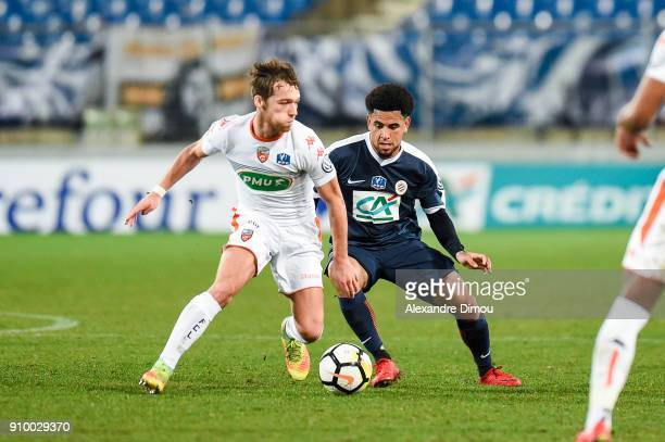 Maxime Etuin of Lorient and Keagan Dolly of Montpellier during the French National Cup match round of 32 between Montpellier and Lorient on January...