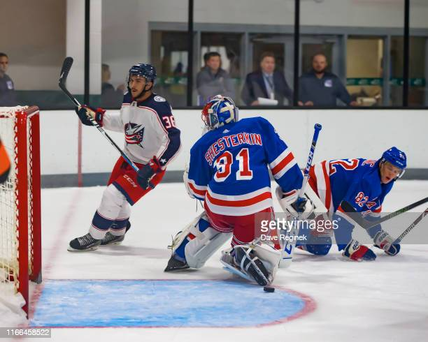 Maxime Fortier of the Columbus Blue Jackets scores a goal on Igor Shesterkin of the New York Rangers during Day1 of the NHL Prospects Tournament at...