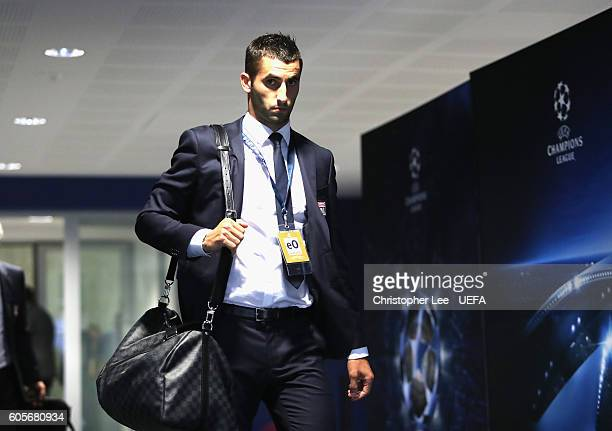 Maxime Gonalons arrives during the UEFA Champions League Group H match between Olympique Lyonnais and GNK Dinamo Zagreb at the Stade de Lyon on...