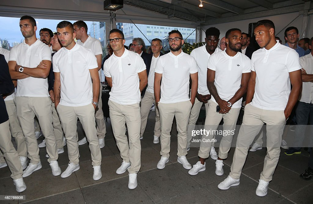 Maxime Gonalons, goalkeeper of Lyon Anthony Lopes, Jeremy Morel, Jordan Ferri, Samuel Umtiti, Alexandre Lacazette and Corentin Tolisso of Lyon looks on during a ceremony presenting the 2015 Trophee des Champions between Paris Saint-Germain (PSG) and Olympique Lyonnais (OL) at Montreal City Hall on July 31, 2015 in Montreal, Quebec, Canada.