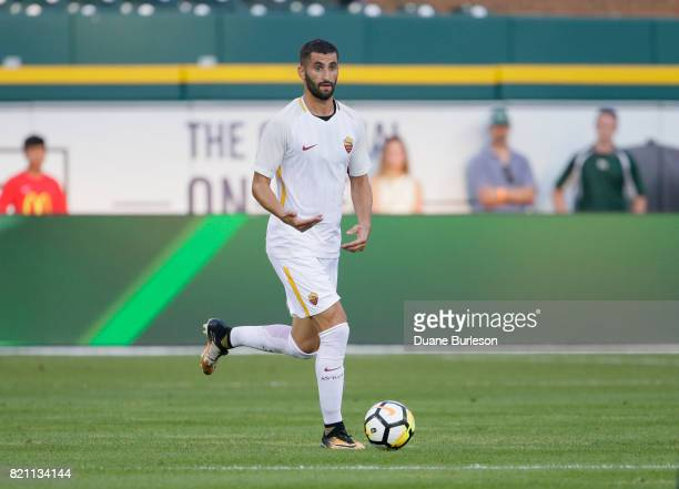 Maxime Gonalons of AS Roma brings the ball up the pitch against Paris SaintGermain during the first half at Comerica Park on July 19 2017 in Detroit...