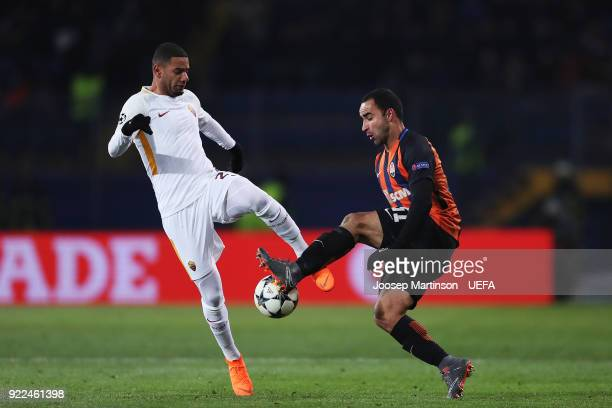 Maxime Gonalons of AS Roma competes with Ismaily of Shakhtar Donetsk during the UEFA Champions League Round of 16 First Leg match between Shakhtar...
