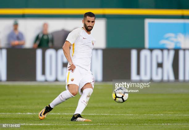 Maxime Gonalons of AS Roma controls the ball against Paris SaintGermain during the first half at Comerica Park on July 19 2017 in Detroit Michigan
