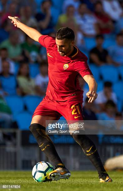 Maxime Gonalons of AS Roma in action during the preseason friendly match between Celta de Vigo and AS Roma at Balaidos Stadium on August 13 2017 in...